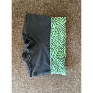 Black and green yoga shorts